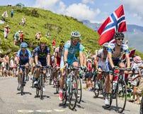 Peloton in de Bergen van de Pyreneeën Royalty-vrije Stock Foto's