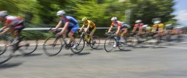 Peloton de los jinetes de la bicicleta en una raza en el movimiento Fotos de archivo libres de regalías