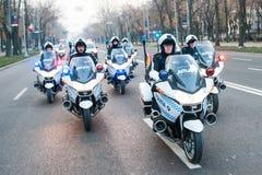 Peloton de moto de police Images stock
