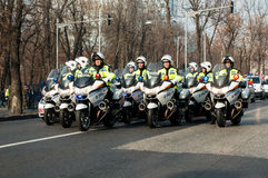Peloton de moto de police Photo stock