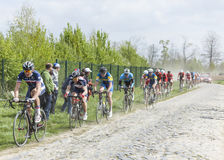 The Peloton on a Dusty Cobblestoned Road. Carrefour de l'Arbre,France-April 13,2014: The peloton,containing young cyclists, riding during a race of juniors on Stock Image