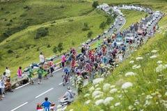 The Peloton Gruppetto Approaching on Col de Peyresourde - Tour Stock Photo