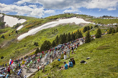 The Peloton in Mountains Royalty Free Stock Photos