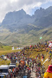 The Peloton in Mountains - Tour de France 2015 Royalty Free Stock Image