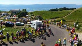 The peloton in mountains - Tour de France 2016 stock video footage