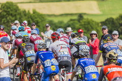 The Peloton in Mountains - Tour de France 2017 Royalty Free Stock Photos