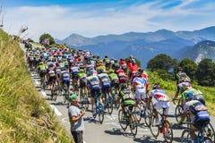 Peloton op Col. d'Aspin - Ronde van Frankrijk 2015 Stock Foto's