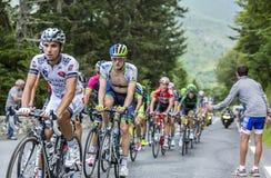 Peloton op Col. du Tourmalet - Ronde van Frankrijk 2014 stock foto's