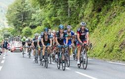 Peloton op Col. du Tourmalet - Ronde van Frankrijk 2014 royalty-vrije stock foto