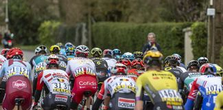The Peloton - Paris-Nice 2019 stock image
