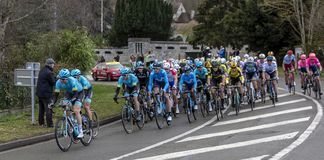 The Peloton - Paris-Nice 2019 royalty free stock photography