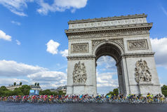 The Peloton in Paris - Tour de France 2016 Royalty Free Stock Photos