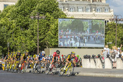 The Peloton in Paris - Tour de France 2016. Paris, France - July 24, 2016: Thomas Voeckler of Direct Energie Team and Thomas De Gendt of Lotto-Soudal Team in Royalty Free Stock Photography