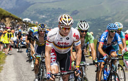 The Peloton in Pyrenees Mountains Stock Images