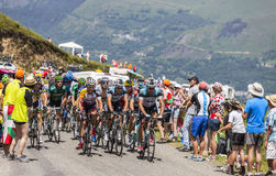 The Peloton in Pyrenees Mountains Stock Photography