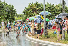The Peloton in a Rainy Day Royalty Free Stock Images