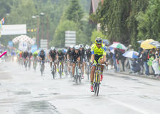 The Peloton Riding in the Rain - Tour de France 2014 Royalty Free Stock Photos