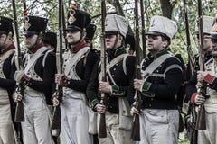 Peloton van Franse napoleonic militairen Royalty-vrije Stock Afbeeldingen