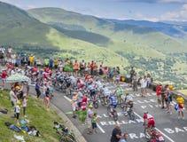Pelotonen i berg - Tour de France 2014 fotografering för bildbyråer