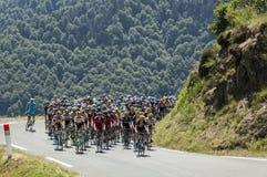 Pelotonen på sänkad'Aspin - Tour de France 2015 Arkivfoto