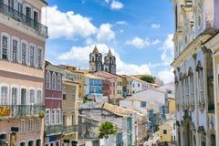 Pelourinho萨尔瓦多巴西殖民地明信片视图 免版税库存图片