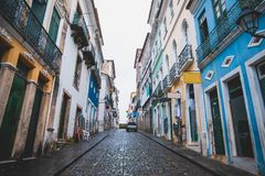 Pelourinho in Bahia, Salvador - Brazil. With colorful houses and the church Royalty Free Stock Photography
