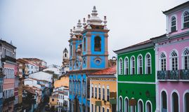 Pelourinho in Bahia, Salvador - Brazil. With colorful houses and the churchs Royalty Free Stock Photography