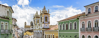 Pelourinho facades. Facades of the old houses and townhouses and towers of historic churches in Pelourinho neighborhood in Salvador, Bahia Stock Image