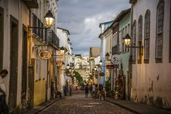 Pelourinho histórico no crepúsculo, Salvador, Baía, Brasil fotografia de stock royalty free