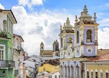 Pelourinho houses and churches facades. Facades of the old houses and townhouses and towers of historic churches in Pelourinho neighborhood in Salvador, Bahia Royalty Free Stock Photos