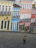 PELOURINHO OLD neighborhood Salvador Bahia Brazil. PELOURINHO, OLD neighborhood Salvador Bahia Brazil, image of Michael Jackson's balcony video in center (light Stock Photo