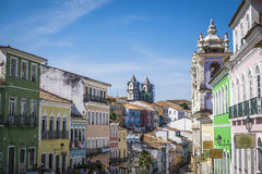 Pelourinho is one of the most famous places of Salvador for tour. Salvador, Brazil - October 26, 2016: Pelourinho is one of the most famous places of Salvador Royalty Free Stock Photo