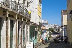 Pelourinho is one of the most famous places of Salvador for tour. Salvador, Brazil - October 26, 2016: Escola Olodum school, music and landmark site in Royalty Free Stock Image