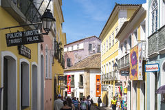 Pelourinho is one of the most famous places of Salvador for tour. Salvador, Brazil - October 26, 2016: Pelourinho is one of the most famous places of Salvador Royalty Free Stock Photography