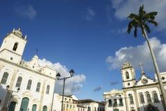 Pelourinho Salvador Bahia Brazil Colonial Architecture. Colonial church architecture of Anchieta Plaza in Pelourinho Salvador Bahia Brazil Stock Image