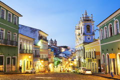 Pelourinho in Salvador, Bahia, Brazil. Colourful colonial houses at the historic district of Pelourinho in Salvador da Bahia, Brazil royalty free stock photography