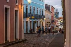 Pelourinho, Salvador Bahia, Brazil, historical tourist center. City and peoples in street stock image