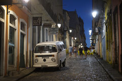 Pelourinho Salvador Brazil Street with VW  Kombi Stock Images