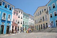 PELOURINHO, BRAZIL - OCTOBER 21, 2013: Historic city center of Salvador de Bahia in Brazil called Pelourinho. stock photo