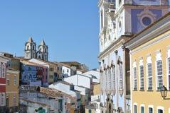 Pelourinho view. Colorful houses of Pelourinho in Salvador da Bahia Stock Photos
