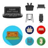 Pelouse avec un signe, un panier avec la nourriture, un banc, une oscillation Icônes réglées de collection de parc dans le symbol Photos libres de droits