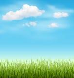 Pelouse d'herbe verte avec des nuages sur le ciel bleu Image libre de droits