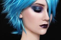 Peluca azul Imagen de archivo libre de regalías