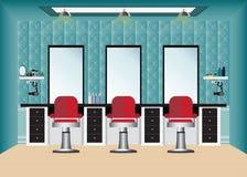 Peluquería de caballeros con la silla y el espejo de peluquero Foto de archivo