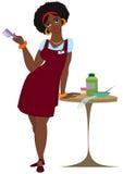 Peluquero de la mujer negra de la historieta que se coloca en delantal rojo Foto de archivo