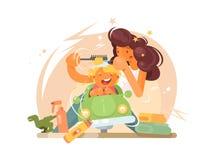 Peluquero de los niños con el niño pequeño alegre stock de ilustración