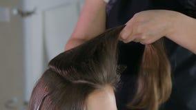 Peluquero profesional, estilista que prepara el peinado para la muchacha adolescente que usa el pasador para el pelo de fijación almacen de metraje de vídeo