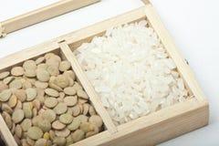 Pelusa y arroz Foto de archivo libre de regalías