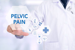 PELVIC PAIN. Medicine doctor working with computer interface as medical Stock Photo