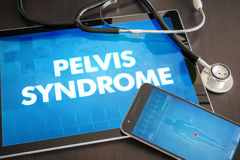 Pelvis syndrome (cutaneous disease) diagnosis medical concept on. Tablet screen with stethoscope Stock Photography